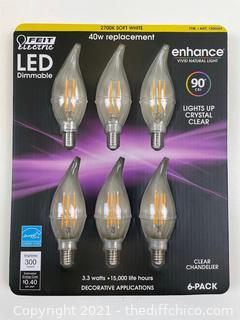 Feit LED Clear Chandelier Bulb Dimmable E12 2700k Soft White 3.3W/40W