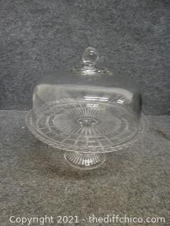 Glass Pedestal Cake Plate With Cover