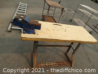 Wood Table With Metal Stand With Vise