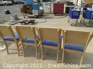 4 Wood & Blue Chairs