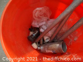 Orange Bucket With Pipe, And Fittings