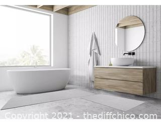 Whitley Willows Reversible Cotton Bath Mat and Runner Set - Light Gray