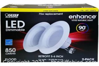 Feit LED 2 Pack Retrofit 5-6 Inch Soft White 2700K 75w Recessed Replacement