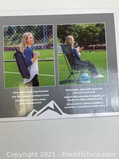 Cascade Mountain Tech Ultra Light Packable High-Back Camping Outdoor Chair Grey