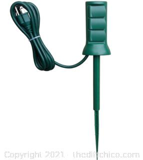 Utilitech 3-Outlet Power Stake 6ft Hinged Outlet Covers Outdoor