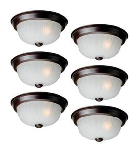NEW Project Source LED Flushmount Ceiling Fixtures 6-Pack 10-in Bronze Light