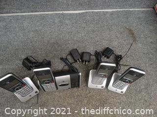 ATT Cordless Phone with Answering Machine Plus 3 Headsets with bases