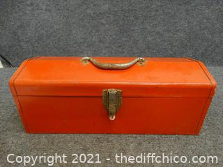 """Red Tool Box With Contents 19"""" x 7 1/2"""" x 7 1/2"""""""