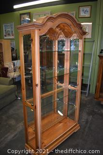 Display Case w/mirror back, working light and 4 glass shelves