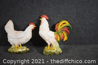 Vintage Homco Wall Hanging Chicken and Rooster