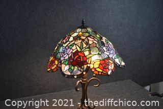 Tiffany Style Working Stain Glass Lamp w/tag