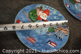 12 Pieces of Kids Christmas Village Collection Plates