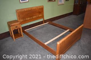 Vintage Waterfall Bed Frame plus Night Stand