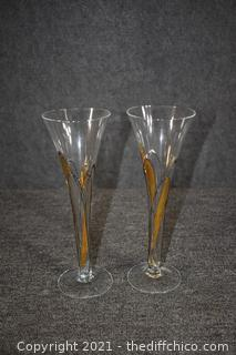2 Fluted Glasses