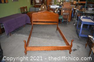 "Mid-Century Willett ""Wildwood Cherry"" Double Bed Frame & Rails."