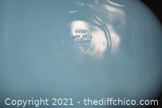 Blue Fire King Glass Divide Dish w/gold rim