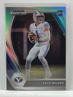 2021 Prizm Draft Picks Zach Wilson Silver Prizm Rookie Card RC #105