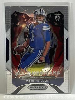 2021 Panini Prizm Draft Picks Zach Wilson All-Americans Rookie Card #182 Jets