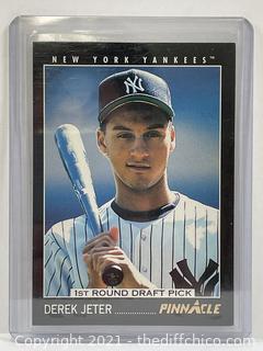 DEREK JETER 1993 PINNACLE ROOKIE CARD #457 YANKEES 1st ROUND DRAFT PICK RC