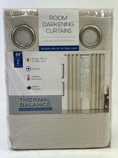 "NEW Thermal Balance 52"" x 84"" Room Darkening Curtains - Sand"