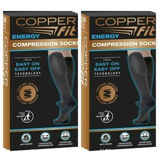2 PACK Copper Fit Energy Compression Socks (Men's 6-9 & Women's 7-10) UNISEX