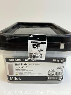 """($124.00) Mitek 100-Pcs Pro Pack 1-13/16"""" x 5"""" Nail Plates NP15-BK"""