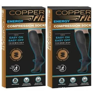 NEW - 2-Pair Copper Fit Unisex Easy On Easy Off Energy Compression Socks M9-12/W10-13