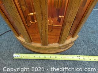 Wood Base Lamp top & Bottom Light Up
