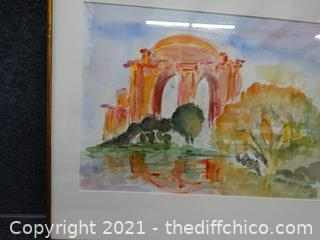 """Framed Water Color Picture  23 1/2"""" x 20 1/2"""""""