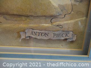 """Unique 3D  Anton Pieck Signed Picture 22"""" x 28 1/4"""""""