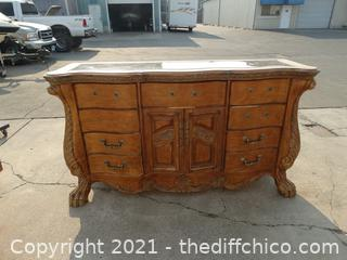 """Marble Top  Claw Foot 9 Drawer  Dresser  *******with mirror  not pictured ** 70 1/2"""" x 40 """" x 20"""""""