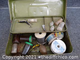 Green Metal Tackle Box With Contents