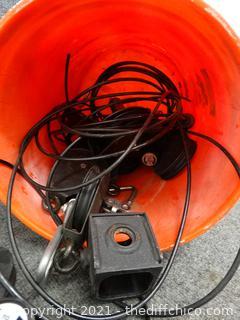 Orange Bucket Of  Pulleys