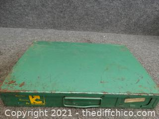 Green Metal Organizer With Contents