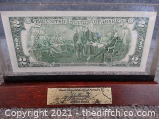 Framed $2 Bill