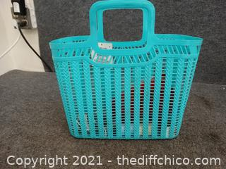 Sewing Lot In Blue Basket