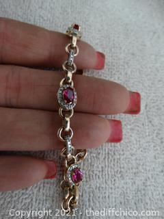 Gold Colored Bracelet  With Stones