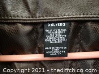 2XXL Brown Leather Jacket