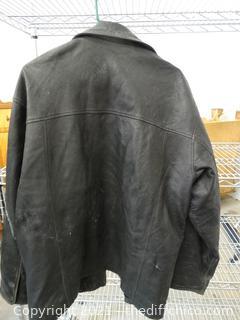 Chereskin Black Leather Coat L