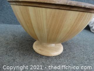 Large wood Salad Bowl With Utensils