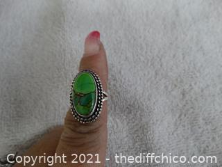 Size 5 1/2     925 Silver Ring With Stone total Weight 6.45