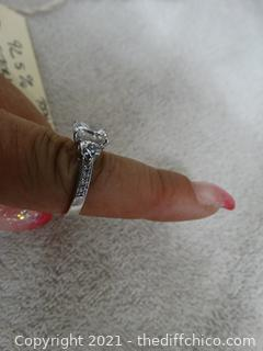 Size 8-------- 925 Sterling Silver Ring With Stones 4.44 total weight