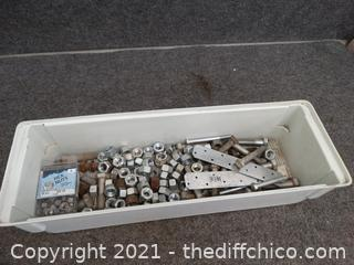 White Plastic Organizer With Nuts & Bolts