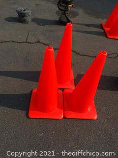 """3 Orange Cones 28"""""""