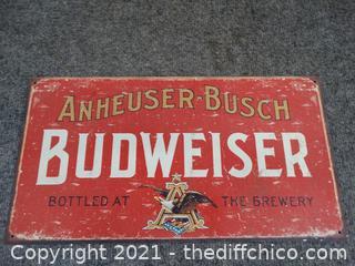 Metal Anheuser Busch  Budweiser Sign