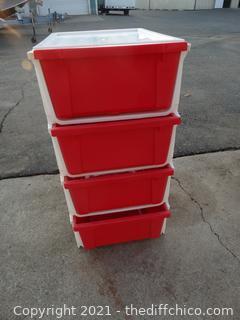 Red 4 Drawer Storage