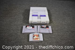 Untested Super Nintendo plus 3 Games