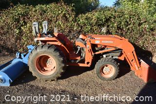 Kubota Tractor with Loader and Flail Mower attachments