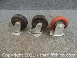 "3 Rubber Wheel Casters 4"""