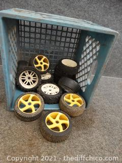 Blue Crate of RC Wheels